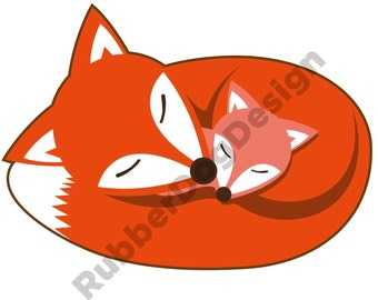 FOX & CUB SLEEPING Design - Digital Clip Art Graphics for Personal or Commercial Use
