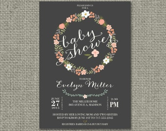 Printable Baby Shower Invitation Card |Flower Wreath and Calligraphy Design | Customize | DIY - No. BFR2-2
