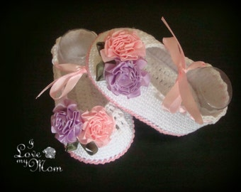 Crochet Baby Girl Booties - Ballet Slippers -Satin Flowers Shoes. READY TO SHIP!