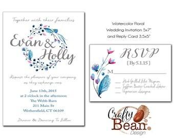 Watercolor Floral Custom Wedding Invitation Printable