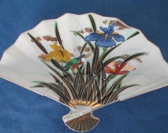 Vintage Fan Plate Iris Bird Design Gold Accents Collectible Oriental Home Decor Powder Room Decor Dresser  Candy Dish Soap Dish