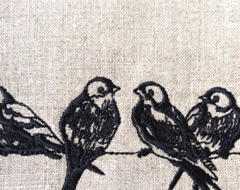 Tea Towel or Guest Towel Birds on a Wire Embroidered Linen