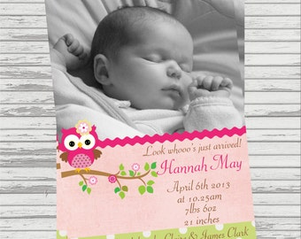 Digital Photo Birth Announcement Owl Themed Girl and Boy available