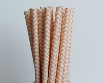 Peach Chevron Paper Straws-Peach Straws-Chevron Straws-Wedding Straws-Party Straws-Mason Jar Straws-Blush Straws-Zigzag Straws-Paper Straws