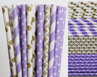 Purple and Gold Paper Straw Mix-Purple Straws-Polka Dot Straws-Damask Straws-Metallic Gold Straws-Striped Straws-Mason Jar Straws
