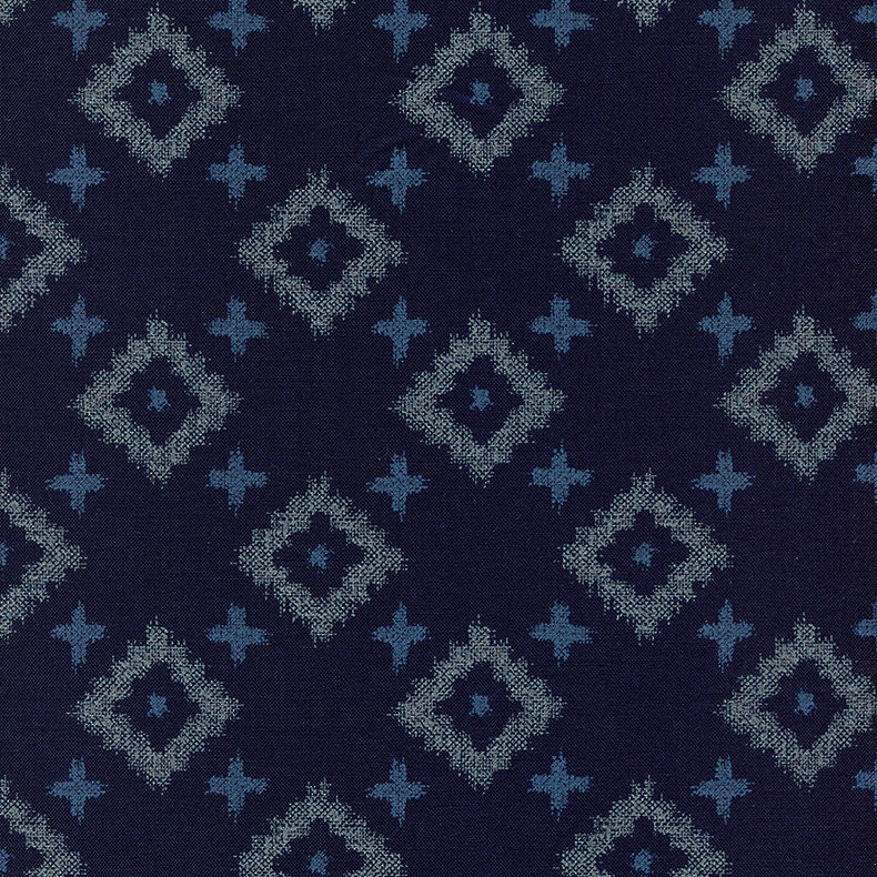 Indigo Fabric Japanese Printed Cotton Quilting Fabric by half