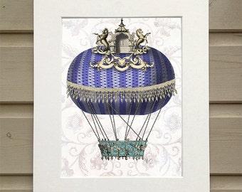 Hot Air Balloon Print - Baroque Balloon With Temple,  - Hot air balloon décor Hot air balloon art Hot air balloon wall art bedroom décor