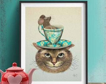Cheshire cat poster - Cheshire Cat & Cup  - alice in wonderland art alice in wonderland print alice in wonderland decoration dormouse