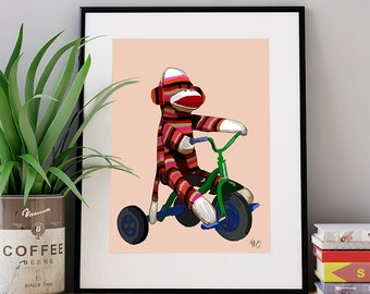 Childrens room décor -  Sock Monkey & Tricycle - Nursery Art for Kids Room Décor children's room boys room decor kids wall art cute gift
