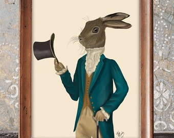 Hare print - Hare in Turquoise Coat - Whimsical print Whimsical décor unusual art Wall art home decor wall decor wall hanging decorative