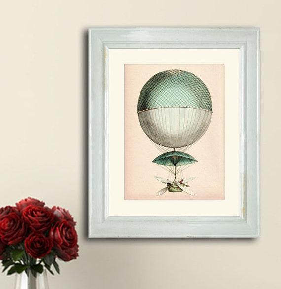 Vintage Hot Air Balloon Vaisseau Volant Art Print By