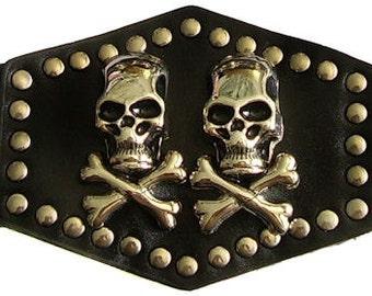 Duel (2) Skulls and Cross Bones on Leather