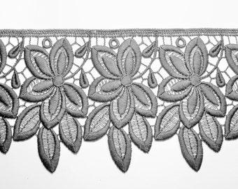 "1 m french lace ""Marseille""  100 mm width dark grey"