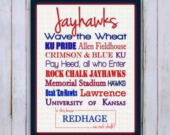 Kansas Jayhawks print- Digital File-KU-8x10-11x14