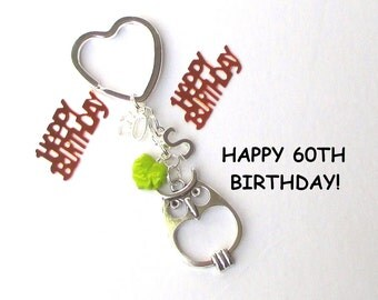 60th birthday gift - Personalised owl keychain - 60th gift for sister, friend, mum, nana, aunt - 60th birthday keychain - owl keyring - UK
