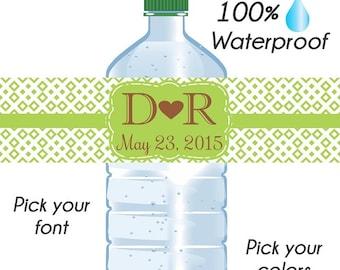 Custom Diamond Design Wedding Water Bottle Labels, Wedding Labels, Custom Wedding, Waterproof Water Bottle Labels