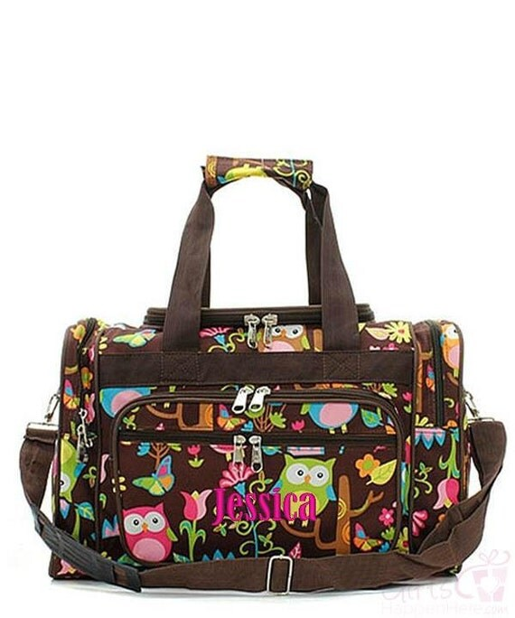 Kids duffle bag monogrammed owl brown personalized large