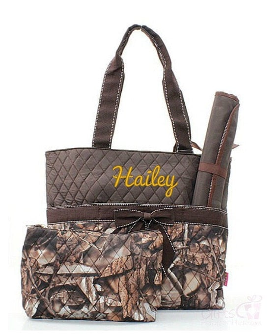 items similar to personalized diaper bag quilted monogrammed natural camo brown camouflage tote. Black Bedroom Furniture Sets. Home Design Ideas