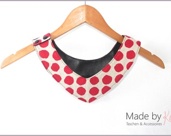 Collar, reversible collar, leather collar, asymmetric collar, small scarf, KOKKA, red dots, black, leather