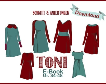 PDF pattern eBook Raglan dress Toni - sew and sewing patterns