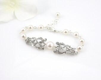 Callie - Art Deco Bridal Bracelet, Rhinestone Bridal Cuff, Crystal Bracelet, Wedding Swarovski Pearl Bracelet, Rhinestone Cuff