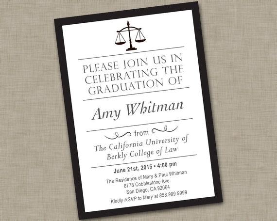 Law School Graduation Invitation Law School Graduation
