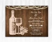 Wine Engagement Invitation DIY PRINTABLE Digital File or Print (extra) Winery Engagement Invitation String Lights Engagement Invitation