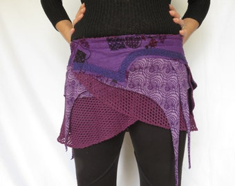 Trance Hippie Clothing - Mini skirt in purple  cotton and lycra