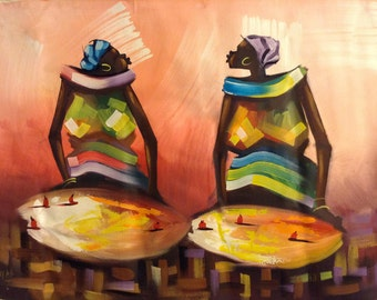 Holiday Gift Market Women African Art painting Acrylic on Canvas