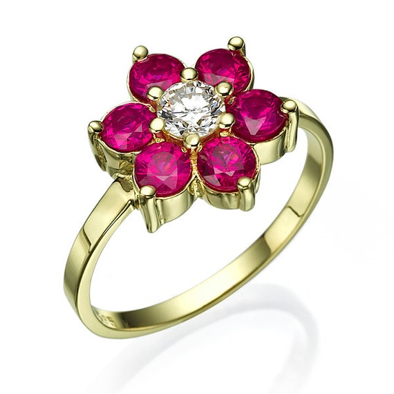 Flower Engagement Ring Ruby Engagement Ring Floral Ring
