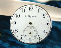 Vtg 1904 Elgin 12s, 7 Jewel Pocket Watch Movement, Open Face, Good Balance, Part or Repair E3118