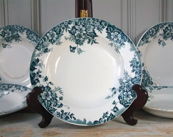 Set of 6 Antique french ironstone TEAL transferware soup plates from MOULIN des LOUPS. Teal transferware. French transferware
