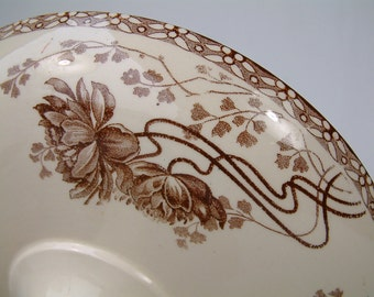 One Antique french ironstone brown transferware cake stand. Art Nouveau. Pedestal cake stand. Brown transferware. French transferware