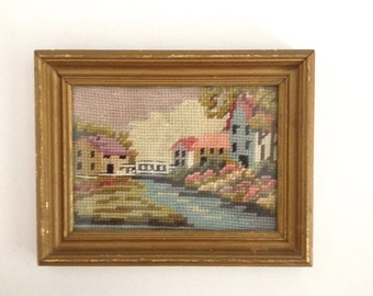 Vintage Needlepoint Cottage Garden English Countryside Needlepoint Gold Wooden Framed