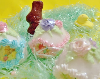 Beautiful Easter Panoramic Decorated Easter Sugar Egg with ENCHANTING little window.(MEDIUM SIZE)