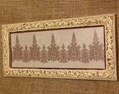 Lovely Delicate Antique Venetian Lace Framed 5.5 x 12.5