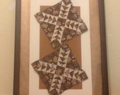 "Double Caramel Diamond Antique Hand Stitched Quilt Square Circa 1860's Professionally ""Float"" Matted and Framed 24 x 36"