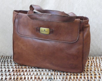 Vintage Lady's Brown Leather Zip Up Top Hand Bag