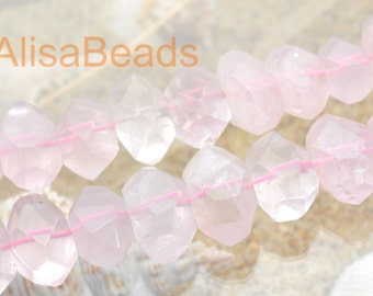 Natural, Rose Quartz,faceted Nugget Chunks, beads ,11x13mm-14x18mm,15.5 inches