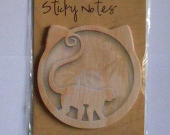 Animal Wood Look Sticky Note Pad - Monkey