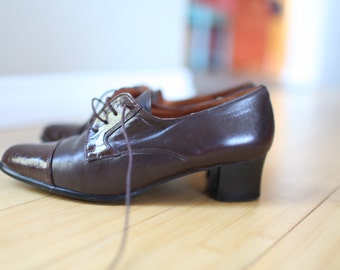 vintage brown patent leather lace up oxfords heels womens 7 1/2 *