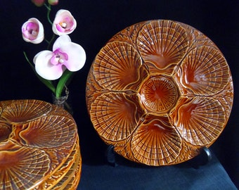 French oyster plate vintage majolica oyster plate 6 servings with sauce dip center Sold individually