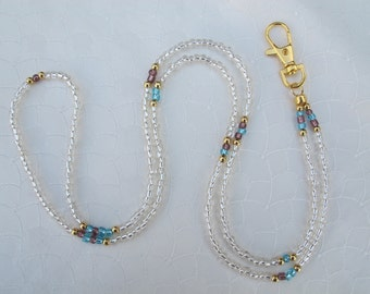 Transparent (clear) with Light Blue, Purple and Gold beads Lanyard. Handmade Beaded ID Badge Holder. Glass beads. Necklace ID Holder.