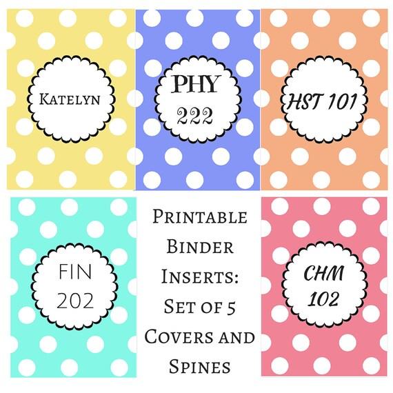 Items Similar To Printable Binder Inserts- Set Of 5 Polka