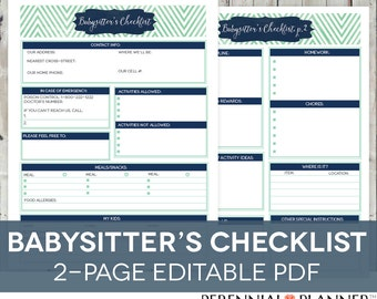 Babysitter's Checklist Printable EDITABLE - 2 Pages Instant Download, Babysitter Plan