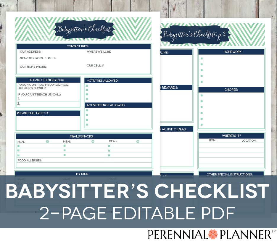 babysitter u0026 39 s checklist printable editable 2 pages