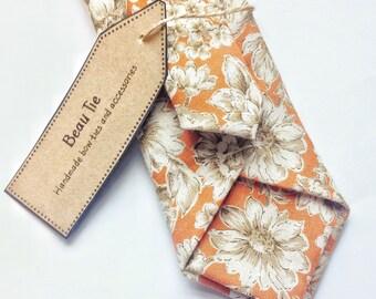 Floral tie, Mens skinny tie, wedding tie, orange skinny tie, mens floral skinny tie, floral tie, cotton tie