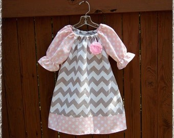 Chevron dress**Toddler girls dress**Spring summer dress**short or elbow sleeves**Gray grey chevron, pink dots, bow! Size 1,2, 3,4, 5,6,7