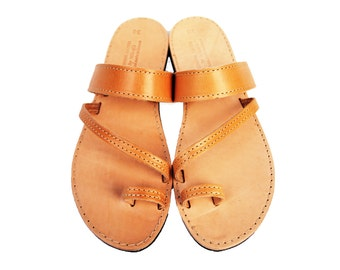 Handmade greek sandals, leather flats for summer, wholesale leather gift for her