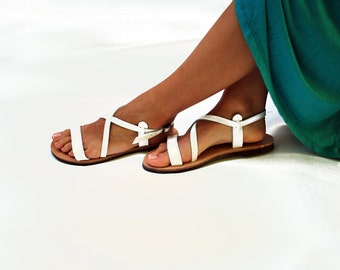 Greek Sandals, Ankle Strap Women Sandals in Natural Brown